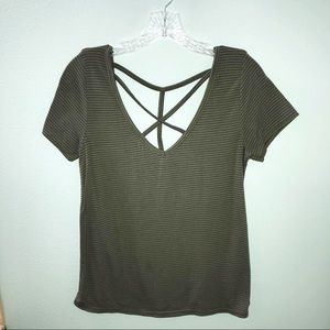 Poof Women's V-Neck Open Back Top Size M
